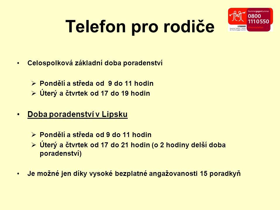 Telefon pro rodiče Celospolková základní doba poradenství  Pondělí a středa od 9 do 11 hodin  Úterý a čtvrtek od 17 do 19 hodin Doba poradenství v L