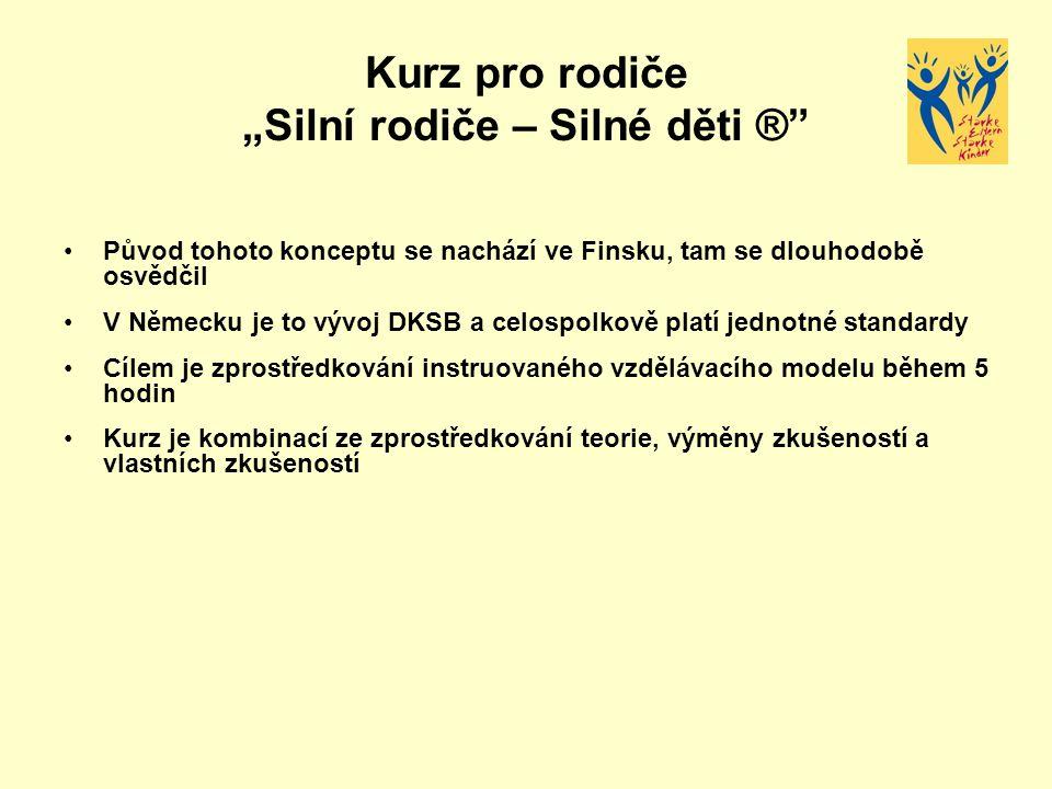 """Kurz pro rodiče """"Silní rodiče – Silné děti ®"""" Původ tohoto konceptu se nachází ve Finsku, tam se dlouhodobě osvědčil V Německu je to vývoj DKSB a celo"""