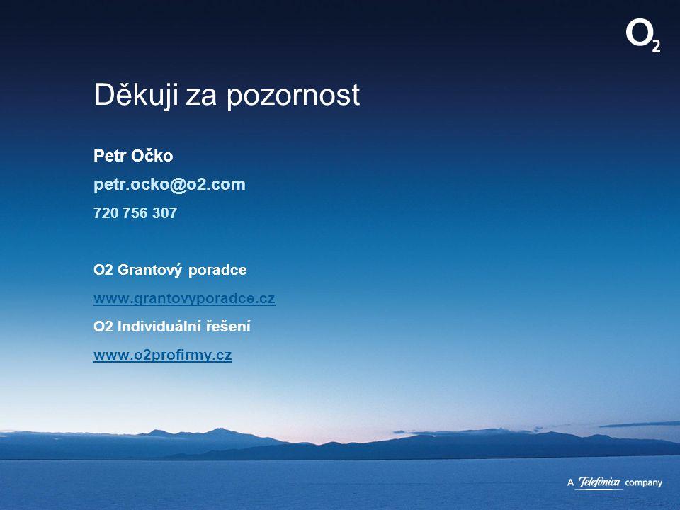 Děkuji za pozornost Petr Očko petr.ocko@o2.com 720 756 307 O2 Grantový poradce www.grantovyporadce.cz O2 Individuální řešení www.o2profirmy.cz www.gra