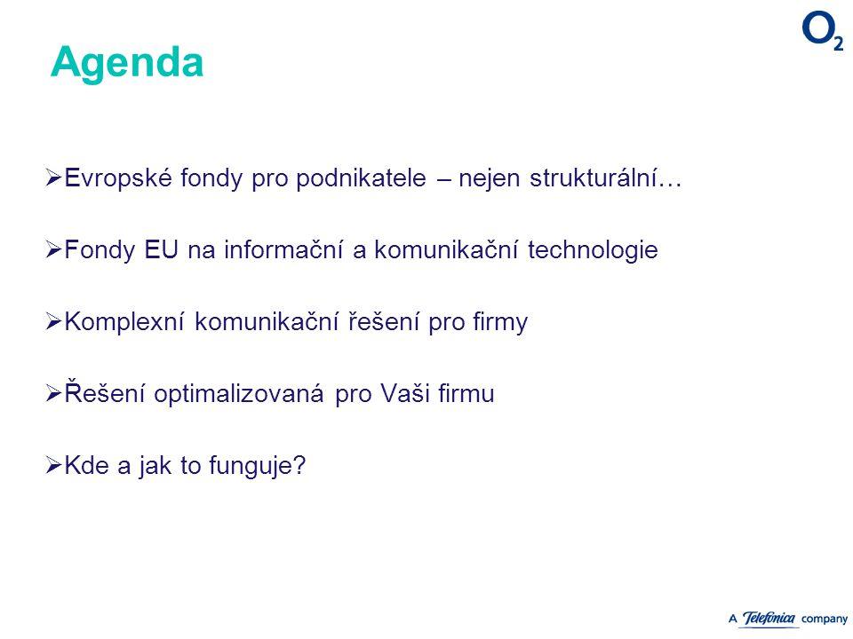 Agenda  Evropské fondy pro podnikatele – nejen strukturální…  Fondy EU na informační a komunikační technologie  Komplexní komunikační řešení pro firmy  Řešení optimalizovaná pro Vaši firmu  Kde a jak to funguje