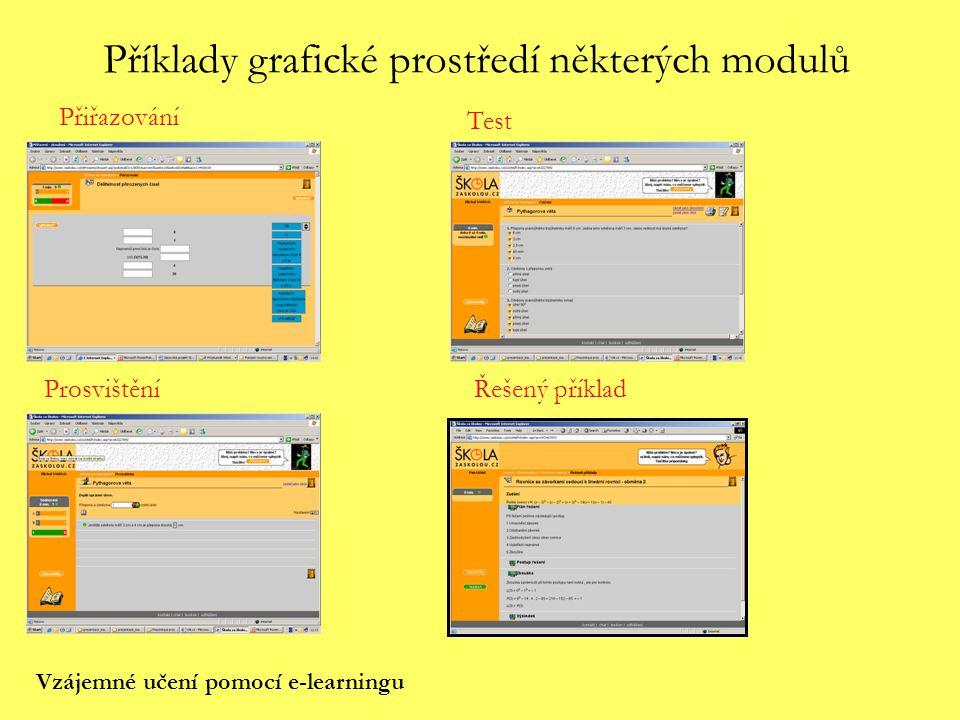 Příklady grafické prostředí některých modulů Přiřazování Test ProsvištěníŘešený příklad