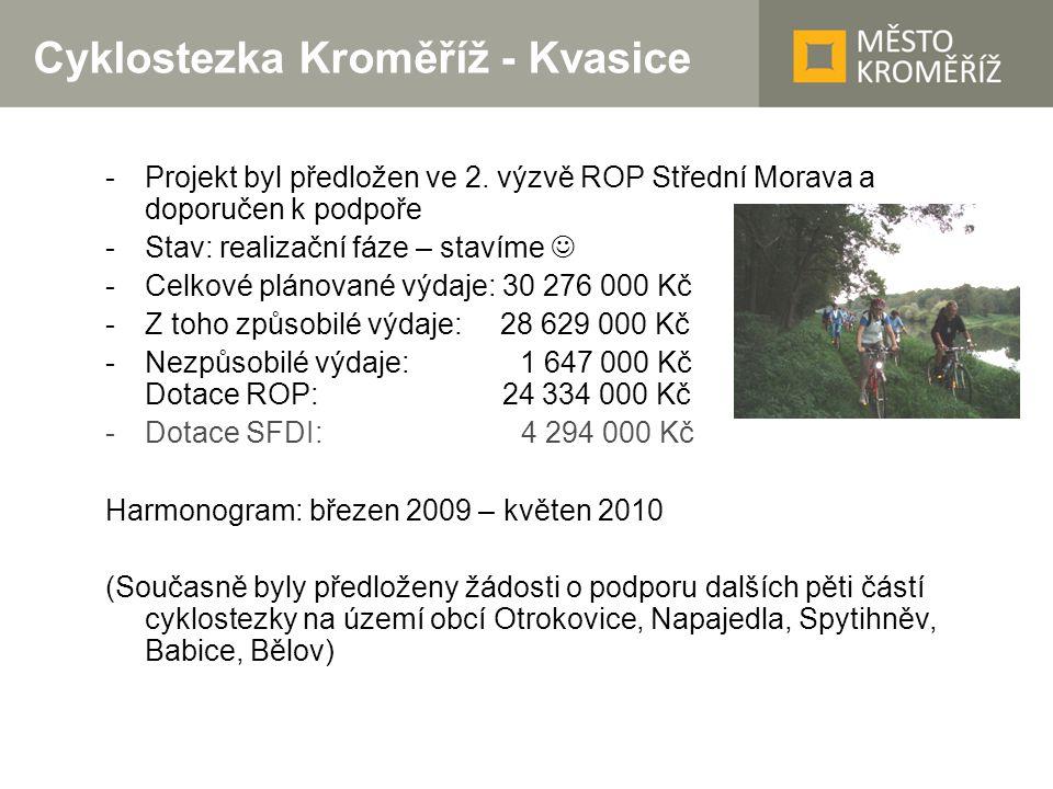 Cyklostezka Kroměříž - Kvasice -Projekt byl předložen ve 2. výzvě ROP Střední Morava a doporučen k podpoře -Stav: realizační fáze – stavíme -Celkové p