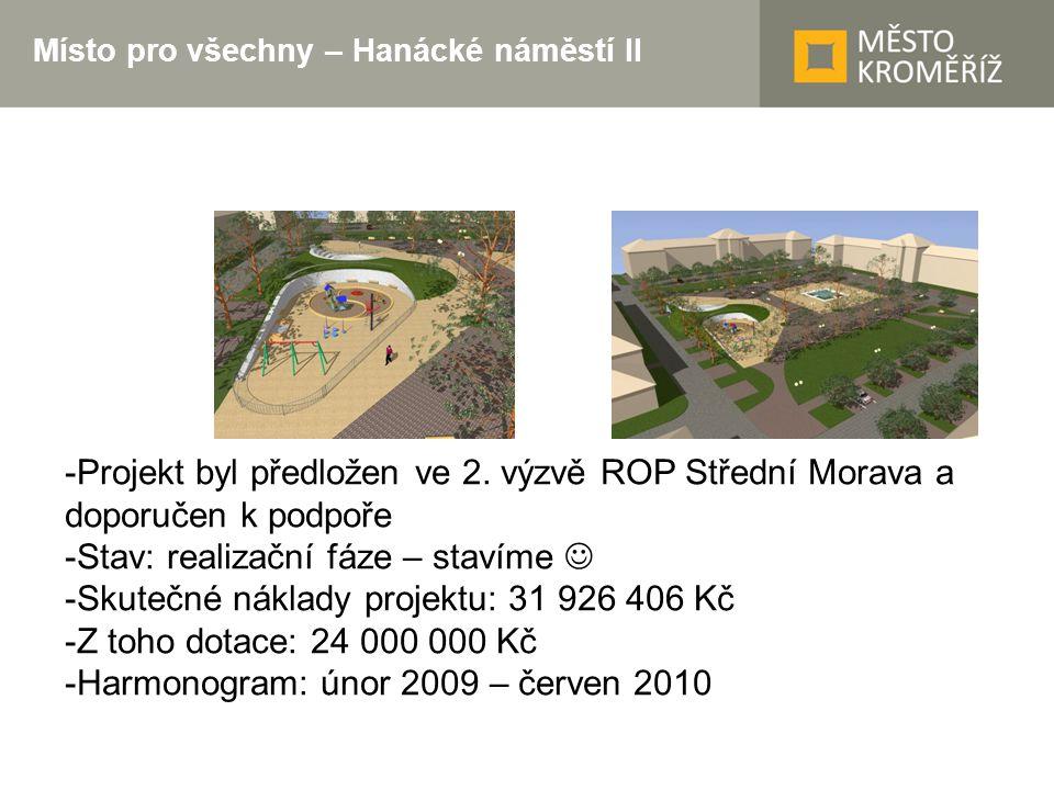 Místo pro všechny – Hanácké náměstí II -Projekt byl předložen ve 2. výzvě ROP Střední Morava a doporučen k podpoře -Stav: realizační fáze – stavíme -S