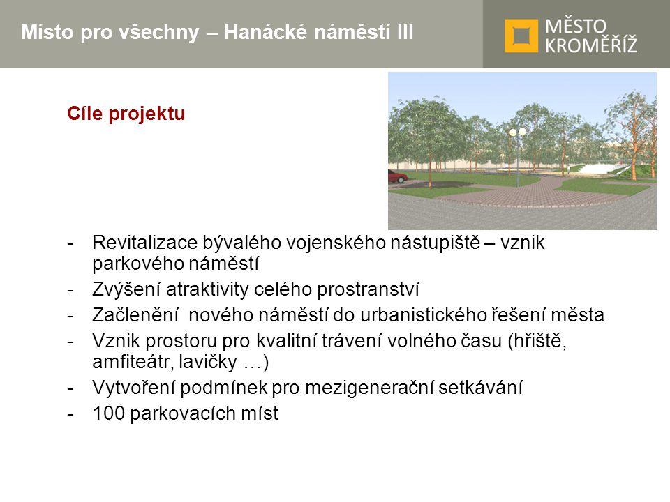 Místo pro všechny – Hanácké náměstí III Cíle projektu -Revitalizace bývalého vojenského nástupiště – vznik parkového náměstí -Zvýšení atraktivity celé