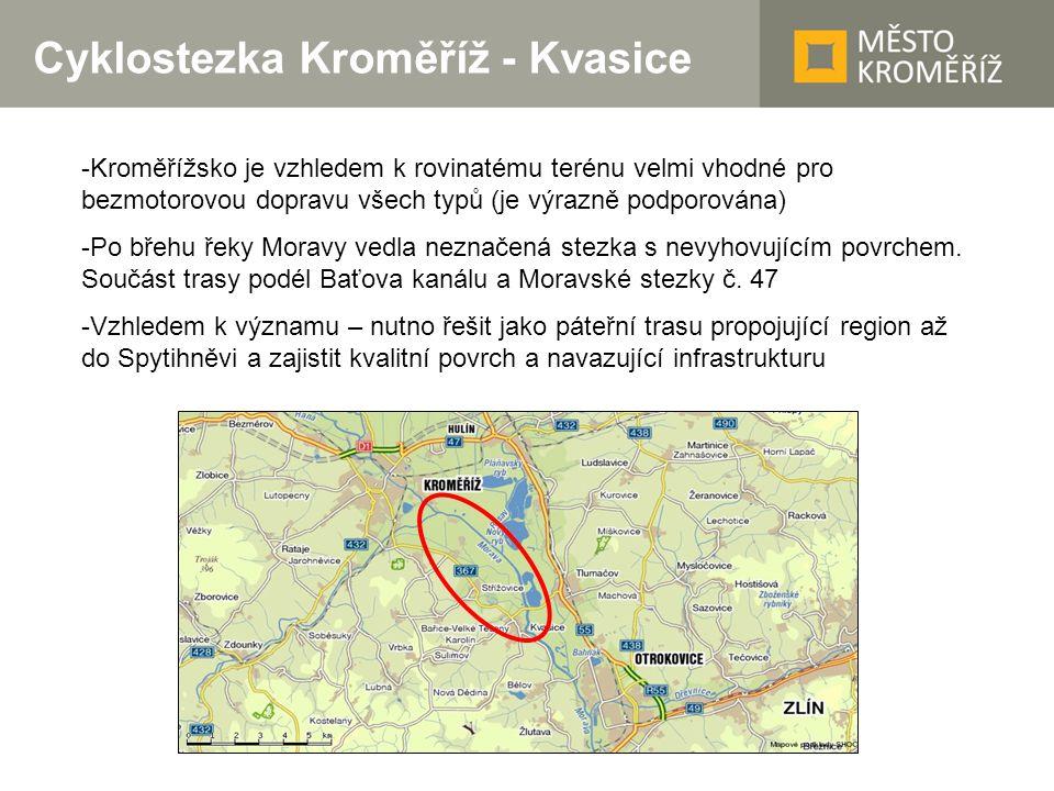 Cyklostezka Kroměříž - Kvasice -Kroměřížsko je vzhledem k rovinatému terénu velmi vhodné pro bezmotorovou dopravu všech typů (je výrazně podporována)