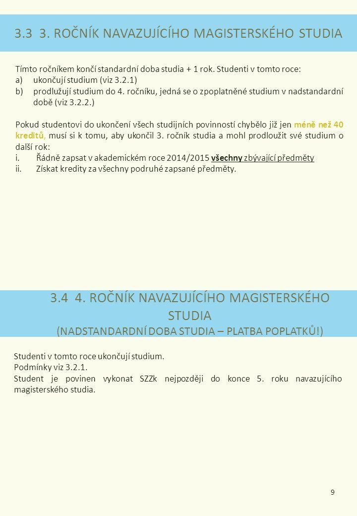 3.3 3. ROČNÍK NAVAZUJÍCÍHO MAGISTERSKÉHO STUDIA 3.4 4. ROČNÍK NAVAZUJÍCÍHO MAGISTERSKÉHO STUDIA (NADSTANDARDNÍ DOBA STUDIA – PLATBA POPLATKŮ!) Tímto r