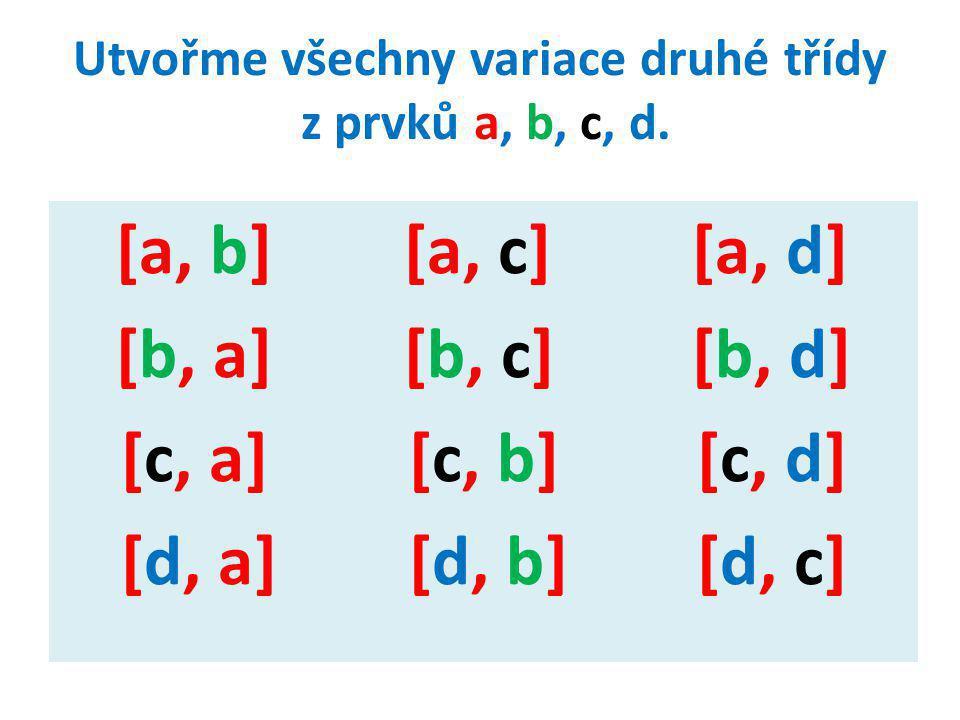 Spíše než vypisování všech variací bez opakování k-té třídy z daných n prvků, nás bude zajímat počet všech variací bez opakování, který označíme V k (n).