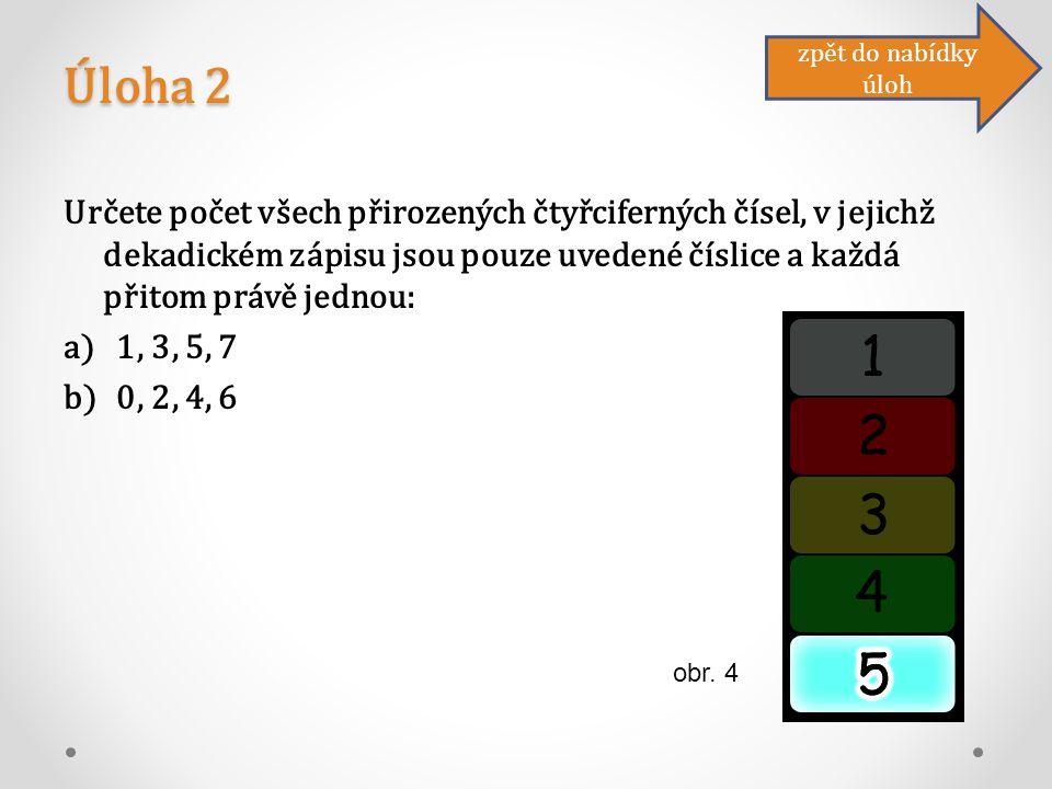 Úloha 2 Určete počet všech přirozených čtyřciferných čísel, v jejichž dekadickém zápisu jsou pouze uvedené číslice a každá přitom právě jednou: a)1, 3, 5, 7 b)0, 2, 4, 6 zpět do nabídky úloh obr.
