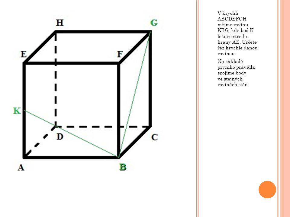 V krychli ABCDEFGH mějme rovinu KBG, kde bod K leží ve středu hrany AE.