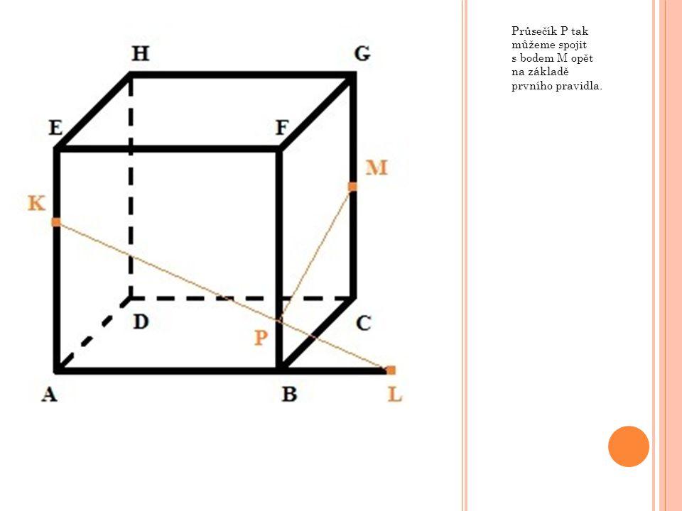 Průsečík P tak můžeme spojit s bodem M opět na základě prvního pravidla.
