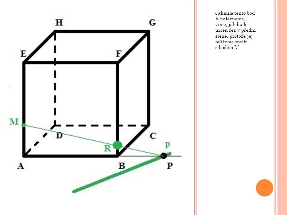 Jakmile tento bod R nalezneme, víme, jak bude určen řez v přední stěně, protože jej můžeme spojit s bodem M.
