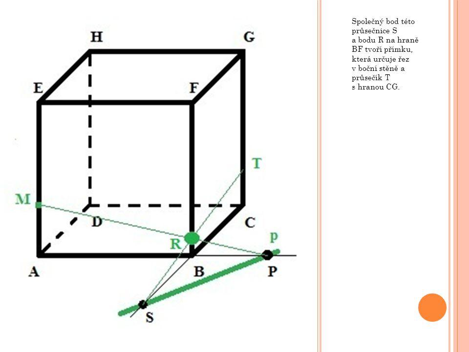 Společný bod této průsečnice S a bodu R na hraně BF tvoří přímku, která určuje řez v boční stěně a průsečík T s hranou CG.