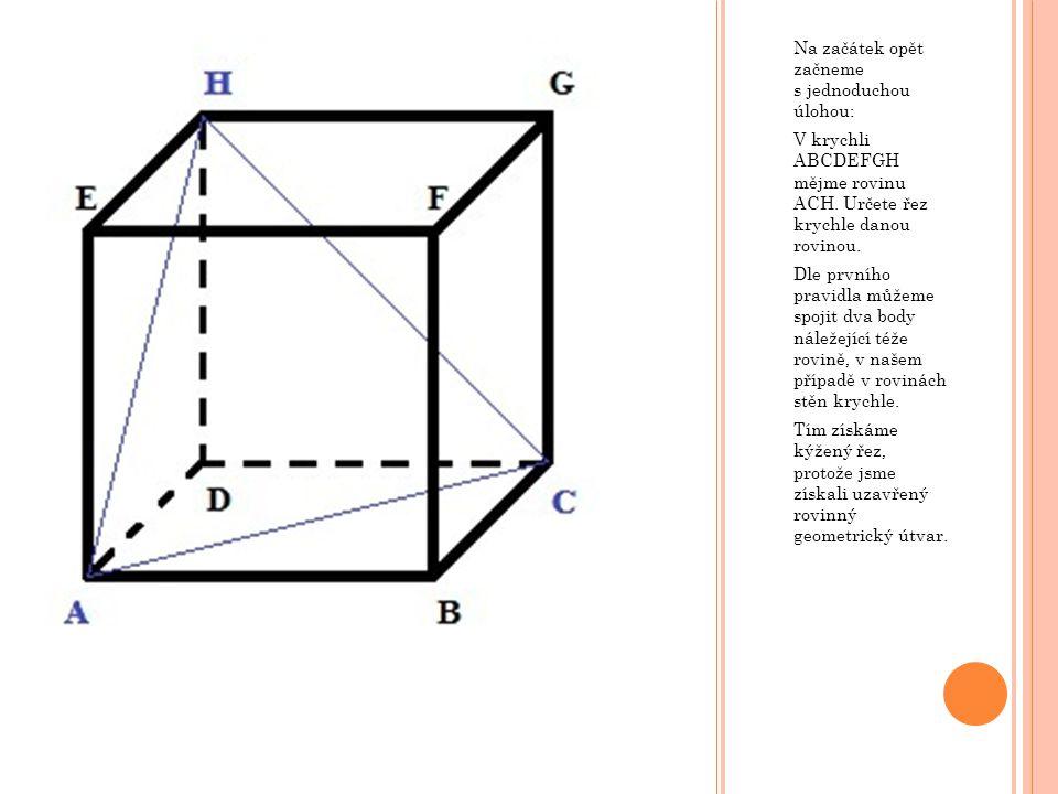 V krychli ABCDEFGH mějme rovinu určenou přímkou p, která leží v rovině podstavy, ale nemá žádný společný bod s dolní podstavou, a bodem M, který lež na hraně AE a platí  AM  :  EM  = 1 : 2.