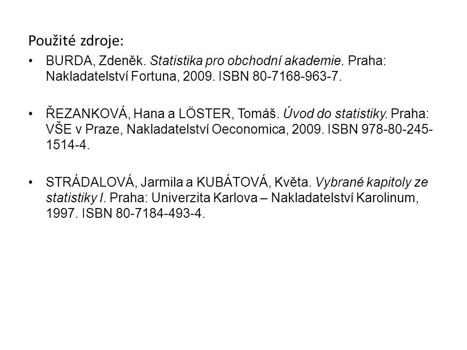 Použité zdroje: BURDA, Zdeněk. Statistika pro obchodní akademie. Praha: Nakladatelství Fortuna, 2009. ISBN 80-7168-963-7. ŘEZANKOVÁ, Hana a LÖSTER, To