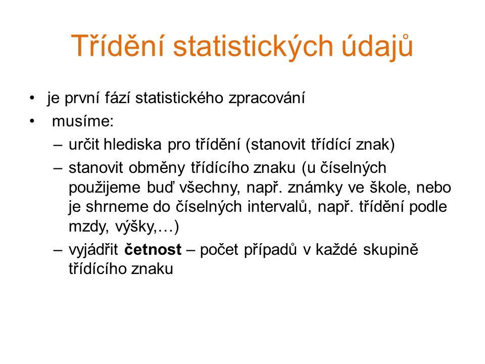 Třídění statistických údajů je první fází statistického zpracování musíme: –určit hlediska pro třídění (stanovit třídící znak) –stanovit obměny třídíc