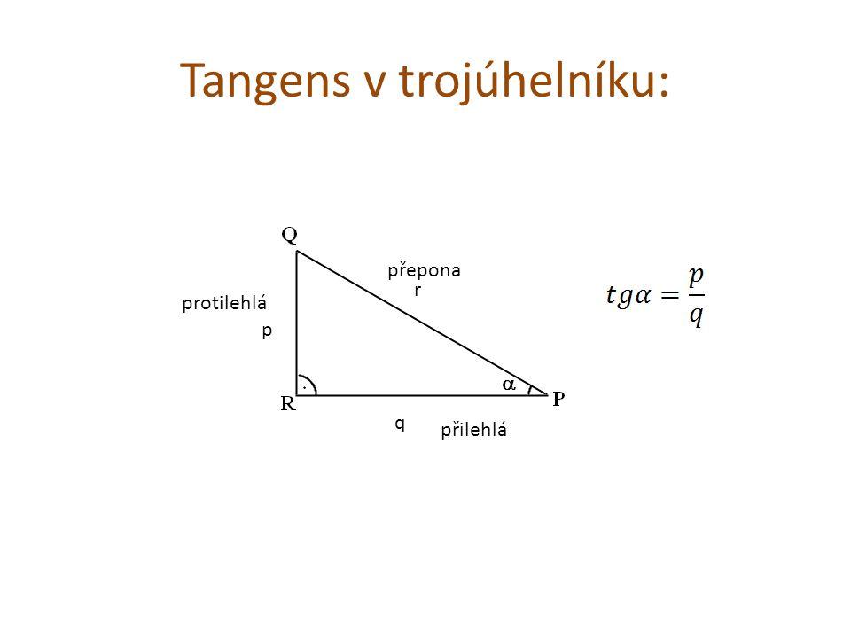 Tangens v trojúhelníku: p r q přilehlá protilehlá přepona