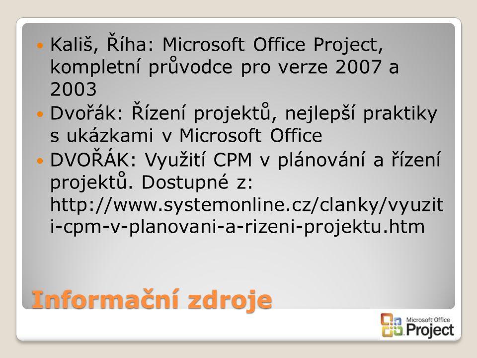 Informační zdroje Kališ, Říha: Microsoft Office Project, kompletní průvodce pro verze 2007 a 2003 Dvořák: Řízení projektů, nejlepší praktiky s ukázkam