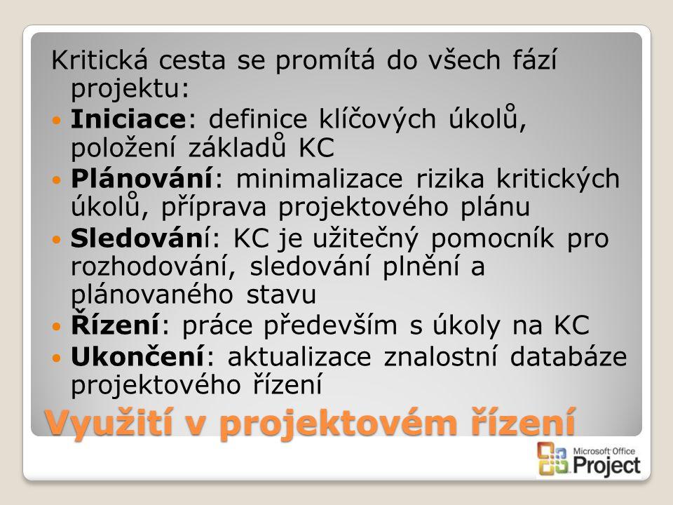 Využití v projektovém řízení Kritická cesta se promítá do všech fází projektu: Iniciace: definice klíčových úkolů, položení základů KC Plánování: mini