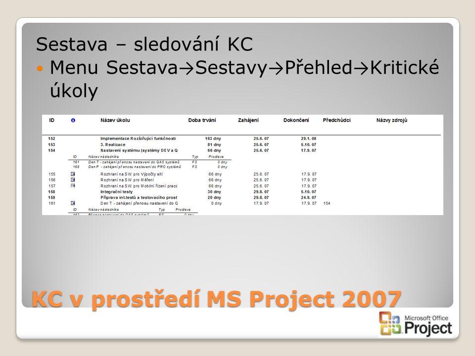 KC v prostředí MS Project 2007 Sestava – sledování KC Menu Sestava → Sestavy → Přehled → Kritické úkoly