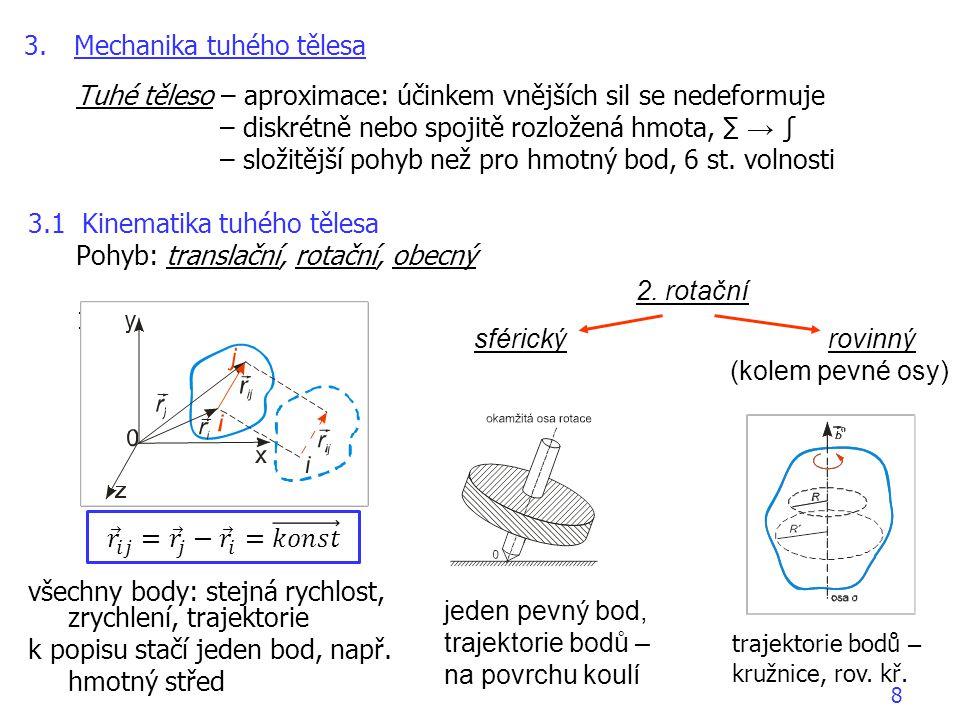 Tuhé těleso – aproximace: účinkem vnějších sil se nedeformuje – diskrétně nebo spojitě rozložená hmota, ∑ → ∫ – složitější pohyb než pro hmotný bod, 6