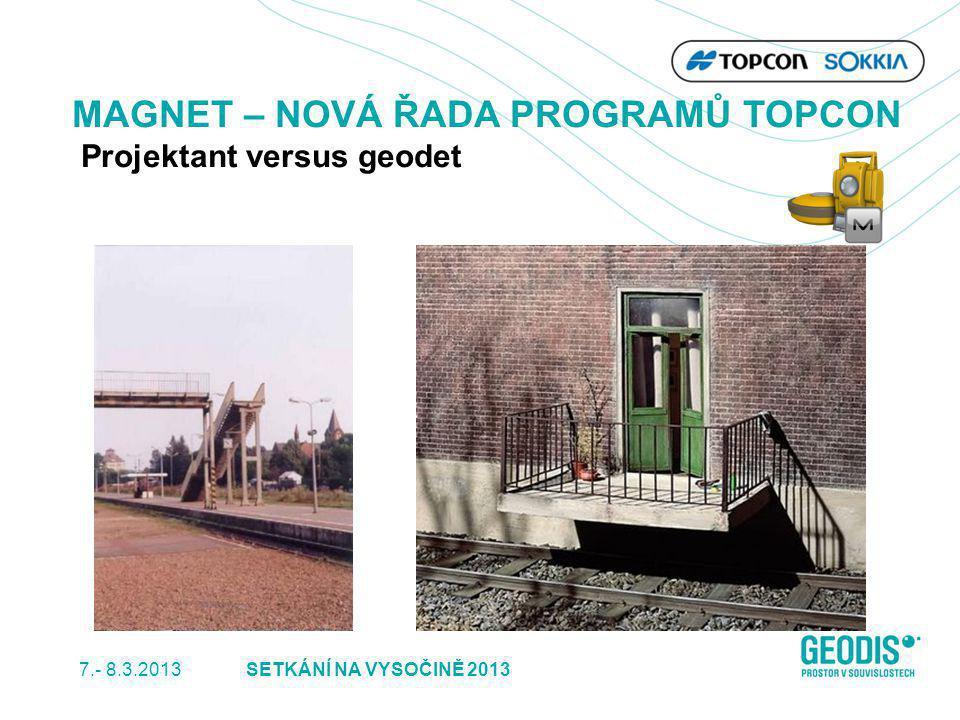 7.- 8.3.2013 14SETKÁNÍ NA VYSOČINĚ 2013 MAGNET – NOVÁ ŘADA PROGRAMŮ TOPCON Projektant versus geodet