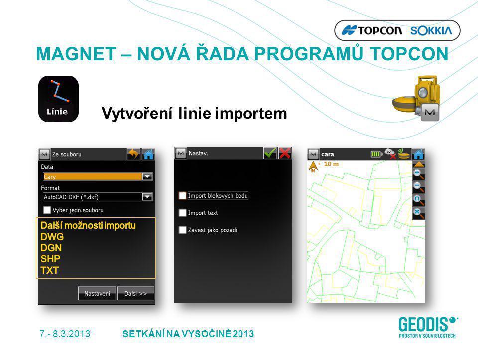 7.- 8.3.2013 17SETKÁNÍ NA VYSOČINĚ 2013 MAGNET – NOVÁ ŘADA PROGRAMŮ TOPCON Vytvoření linie importem