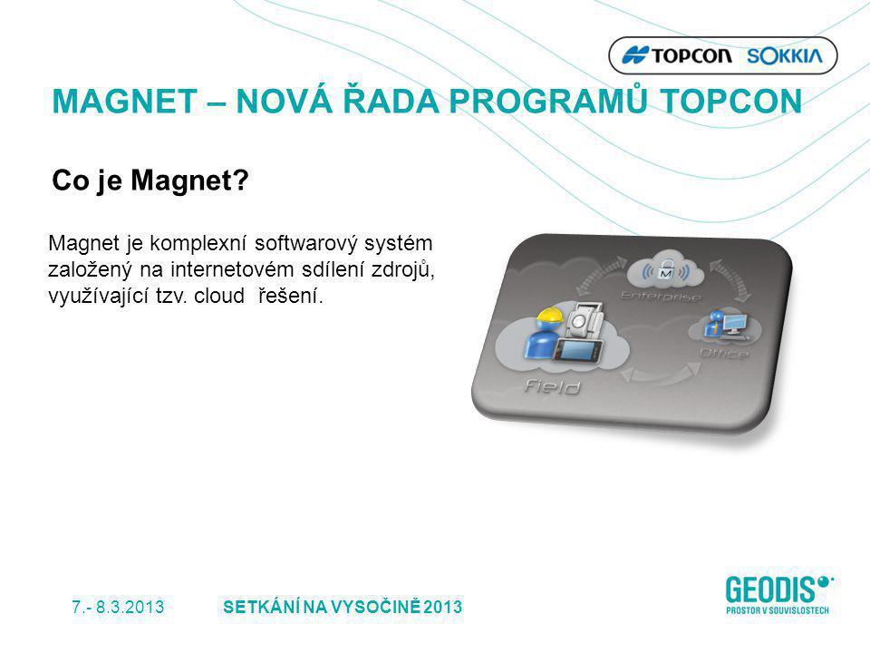 Magnet je komplexní softwarový systém založený na internetovém sdílení zdrojů, využívající tzv. cloud řešení. MAGNET – NOVÁ ŘADA PROGRAMŮ TOPCON Co je