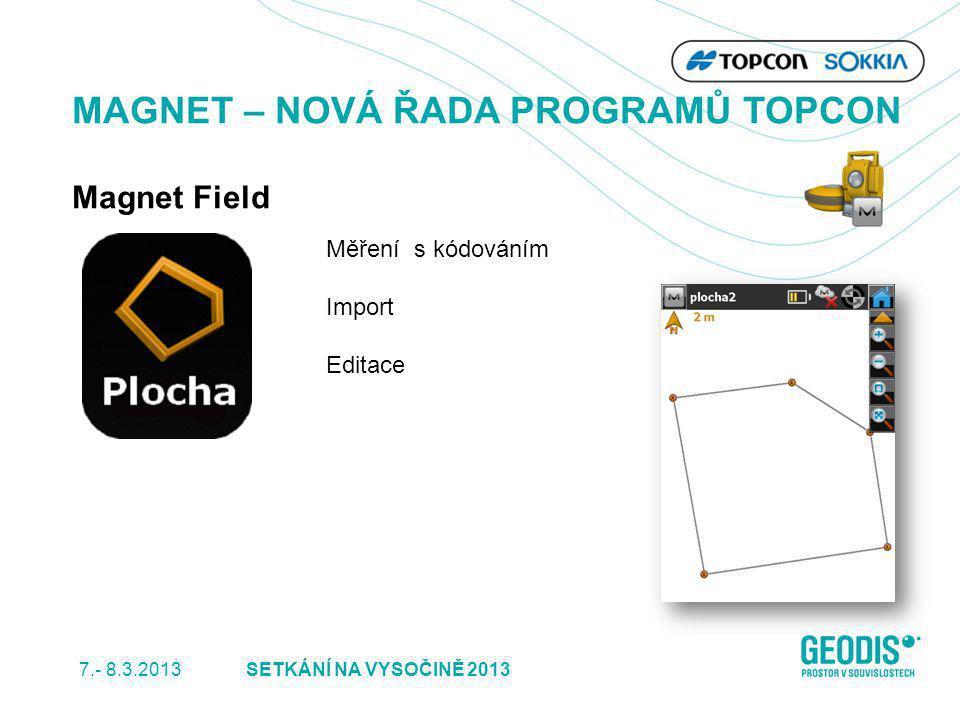 7.- 8.3.2013 21SETKÁNÍ NA VYSOČINĚ 2013 MAGNET – NOVÁ ŘADA PROGRAMŮ TOPCON Magnet Field Měření s kódováním Import Editace