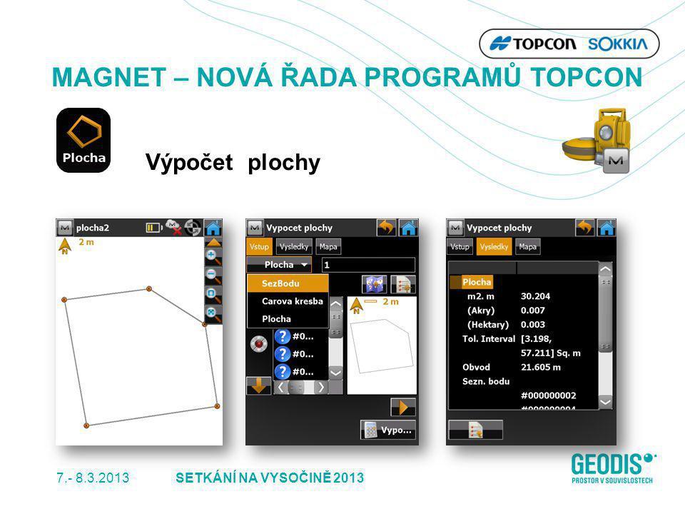 7.- 8.3.2013 25SETKÁNÍ NA VYSOČINĚ 2013 MAGNET – NOVÁ ŘADA PROGRAMŮ TOPCON Výpočet plochy