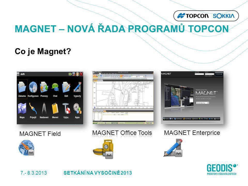 MAGNET Enterprice MAGNET Field MAGNET – NOVÁ ŘADA PROGRAMŮ TOPCON Co je Magnet? SETKÁNÍ NA VYSOČINĚ 2013 7.- 8.3.2013