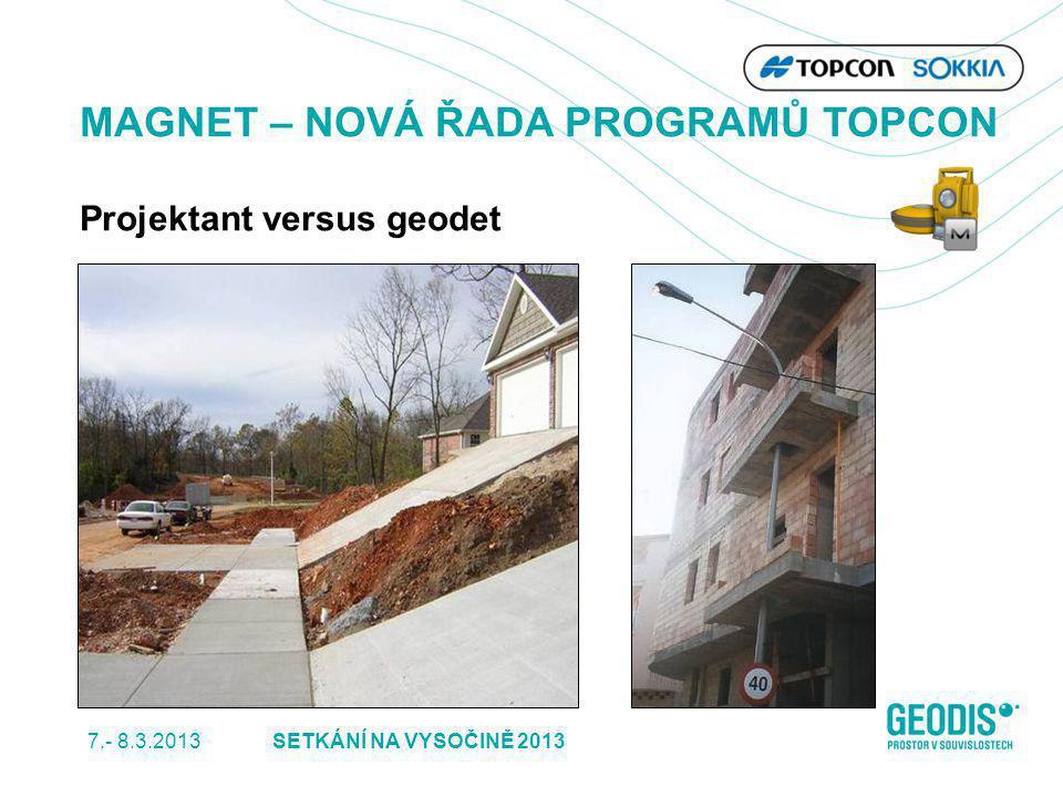 7.- 8.3.2013 30SETKÁNÍ NA VYSOČINĚ 2013 MAGNET – NOVÁ ŘADA PROGRAMŮ TOPCON Projektant versus geodet