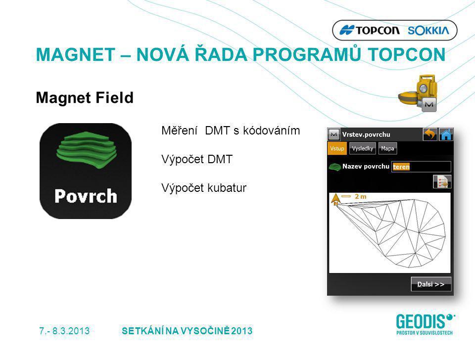 7.- 8.3.2013 31SETKÁNÍ NA VYSOČINĚ 2013 MAGNET – NOVÁ ŘADA PROGRAMŮ TOPCON Magnet Field Měření DMT s kódováním Výpočet DMT Výpočet kubatur