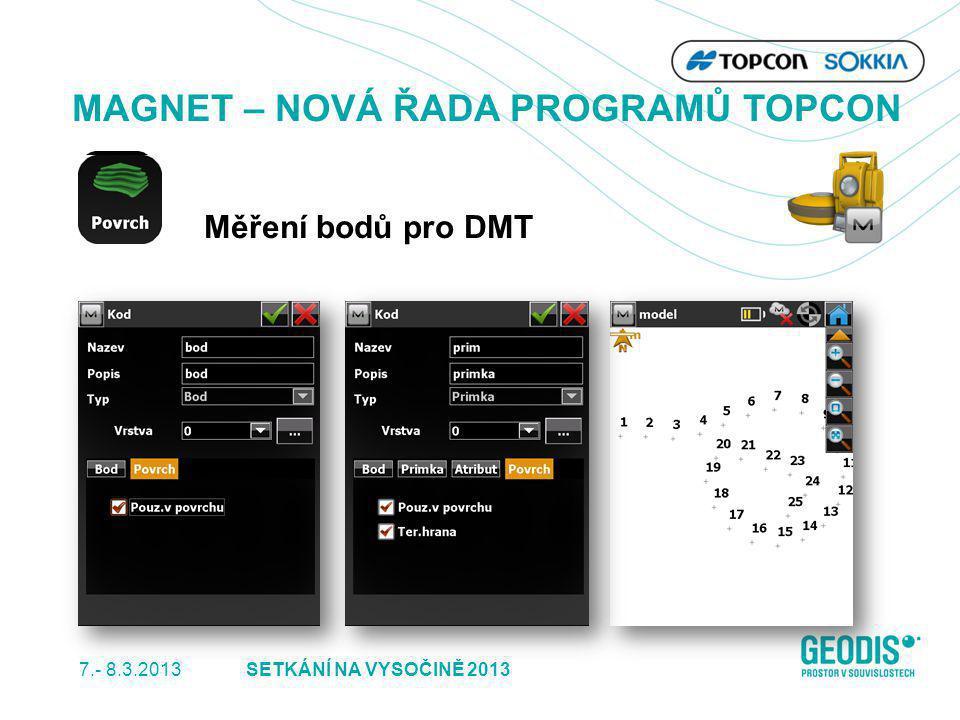 7.- 8.3.2013 32SETKÁNÍ NA VYSOČINĚ 2013 MAGNET – NOVÁ ŘADA PROGRAMŮ TOPCON Měření bodů pro DMT