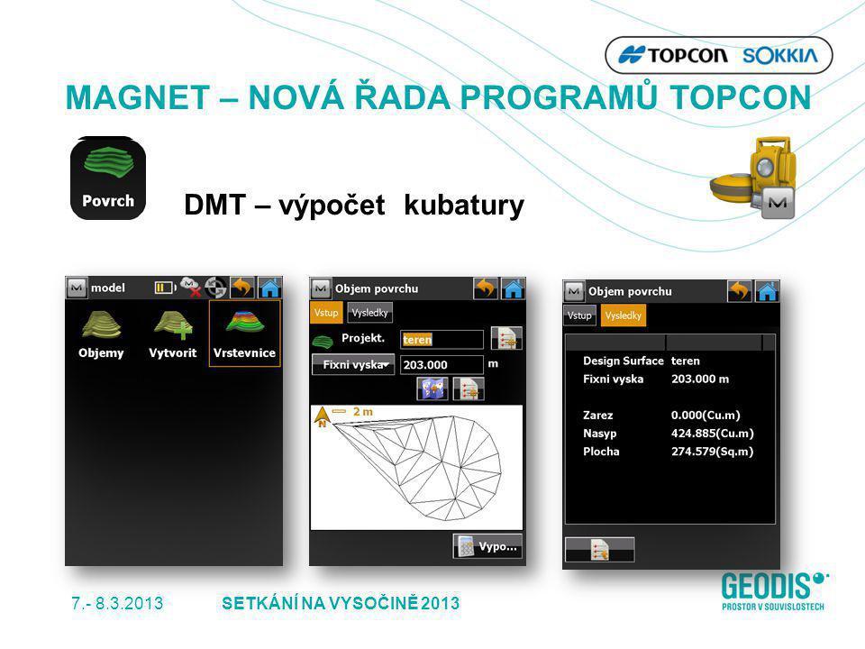 7.- 8.3.2013 36SETKÁNÍ NA VYSOČINĚ 2013 MAGNET – NOVÁ ŘADA PROGRAMŮ TOPCON DMT – výpočet kubatury