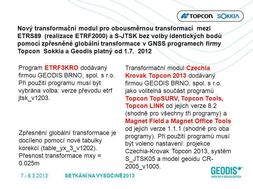 Program ETRF3KRO dodávaný firmou GEODIS BRNO, spol. s r.o. Při použití programu musí být vybrána volba: verze převodu etrf jtsk_v1203. Transformační m
