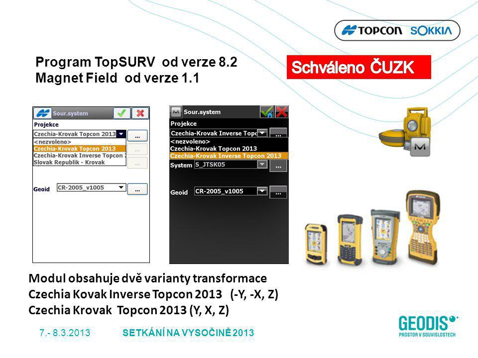 Modul obsahuje dvě varianty transformace Czechia Kovak Inverse Topcon 2013 (-Y, -X, Z) Czechia Krovak Topcon 2013 (Y, X, Z) Program TopSURV od verze 8