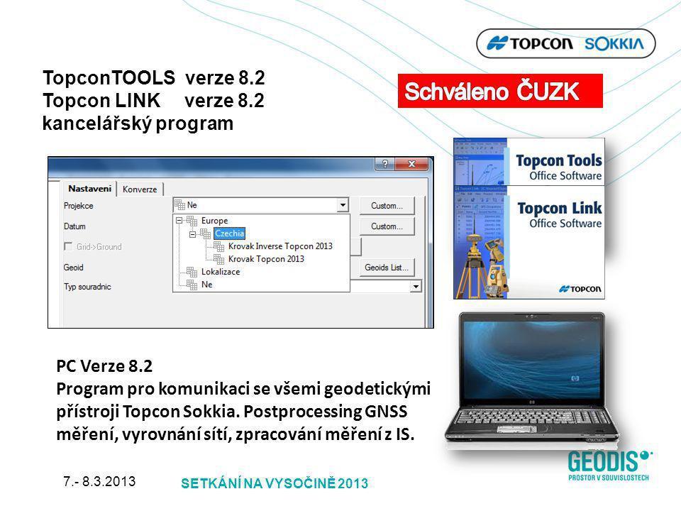 PC Verze 8.2 Program pro komunikaci se všemi geodetickými přístroji Topcon Sokkia. Postprocessing GNSS měření, vyrovnání sítí, zpracování měření z IS.