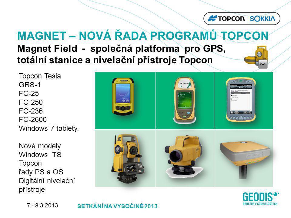 Topcon Tesla GRS-1 FC-25 FC-250 FC-236 FC-2600 Windows 7 tablety. Nové modely Windows TS Topcon řady PS a OS Digitální nivelační přístroje MAGNET – NO