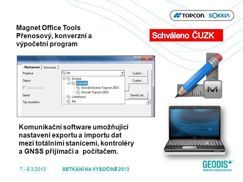Magnet Office Tools Přenosový, konverzní a výpočetní program Komunikační software umožňující nastavení exportu a importu dat mezi totálními stanicemi,
