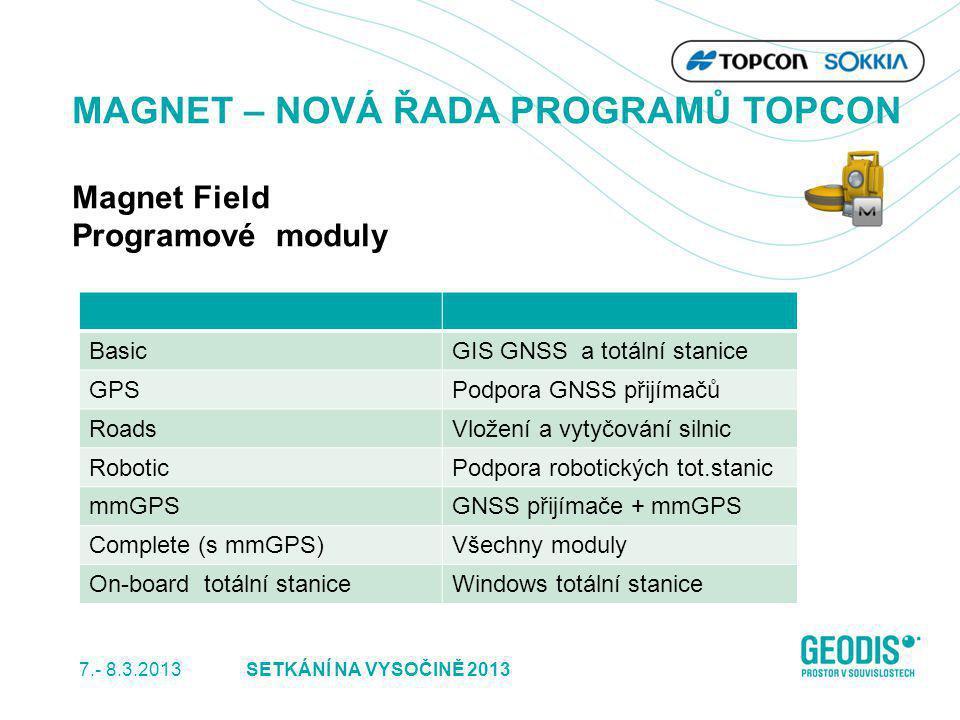 5SETKÁNÍ NA VYSOČINĚ 2013 MAGNET – NOVÁ ŘADA PROGRAMŮ TOPCON Magnet Field Programové moduly BasicGIS GNSS a totální stanice GPSPodpora GNSS přijímačů