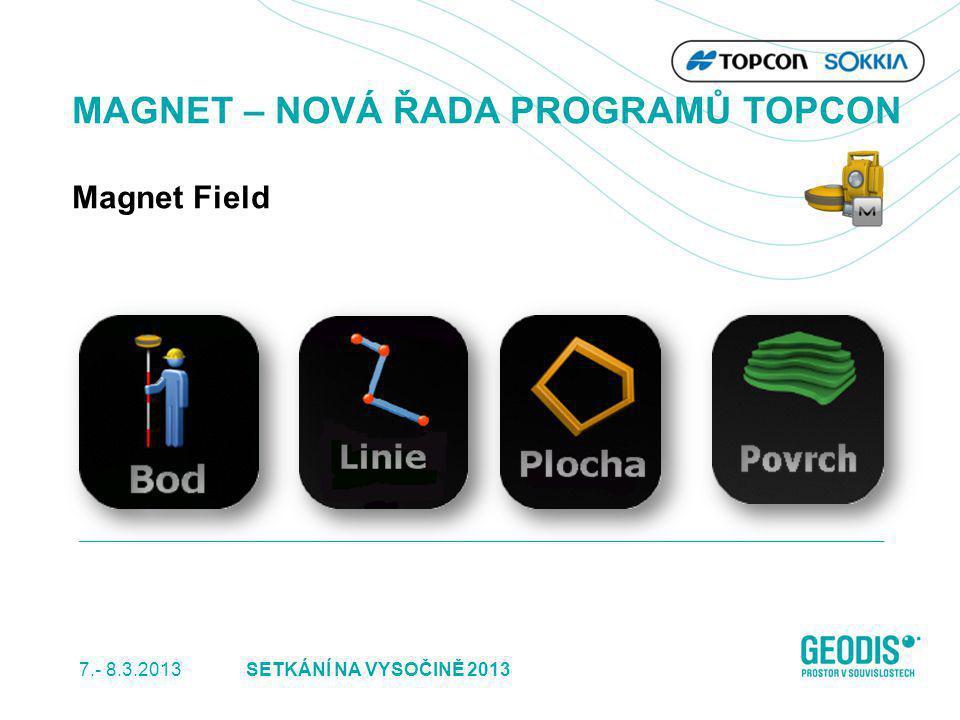 7.- 8.3.2013 6SETKÁNÍ NA VYSOČINĚ 2013 MAGNET – NOVÁ ŘADA PROGRAMŮ TOPCON Magnet Field