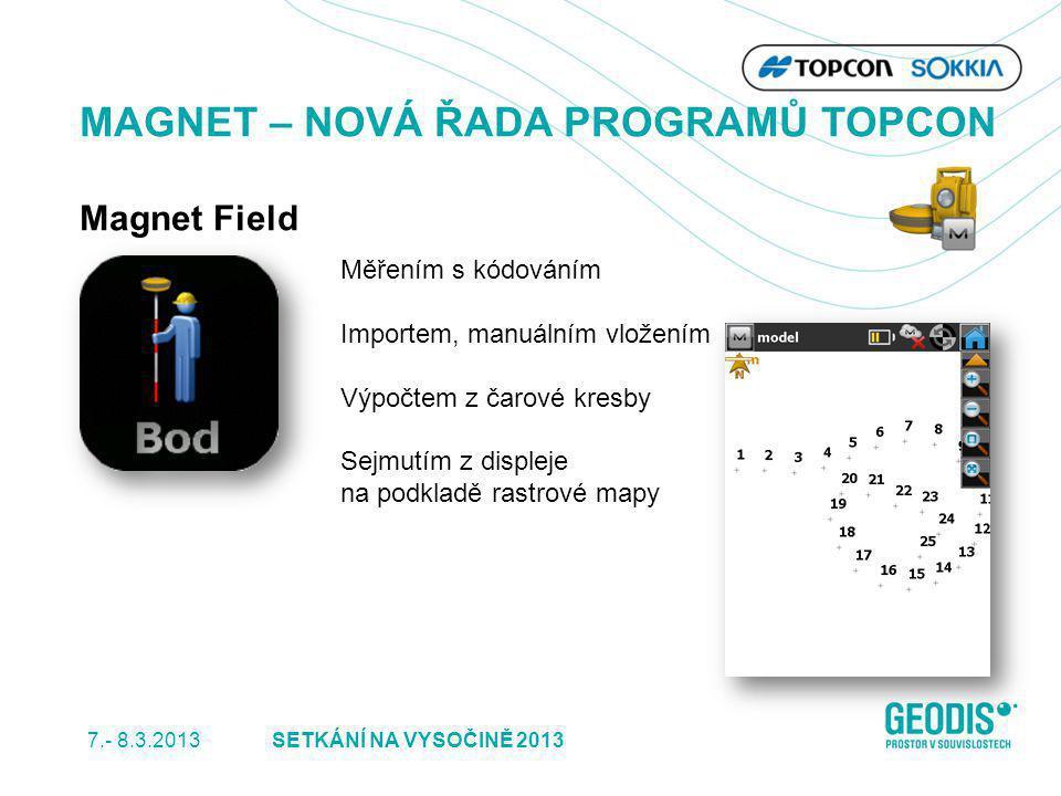 7.- 8.3.2013 7SETKÁNÍ NA VYSOČINĚ 2013 MAGNET – NOVÁ ŘADA PROGRAMŮ TOPCON Magnet Field Měřením s kódováním Importem, manuálním vložením Výpočtem z čar