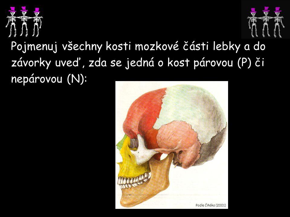 Pojmenuj všechny kosti mozkové části lebky a do závorky uveď, zda se jedná o kost párovou (P) či nepárovou (N): Podle Čiháka (2001)) čelní (N) čichová (N) týlní (N) spánková (P) temenní (P) klínová (P)