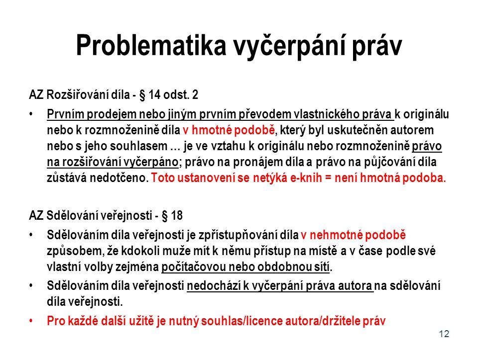 Problematika vyčerpání práv AZ Rozšiřování díla - § 14 odst. 2 Prvním prodejem nebo jiným prvním převodem vlastnického práva k originálu nebo k rozmno