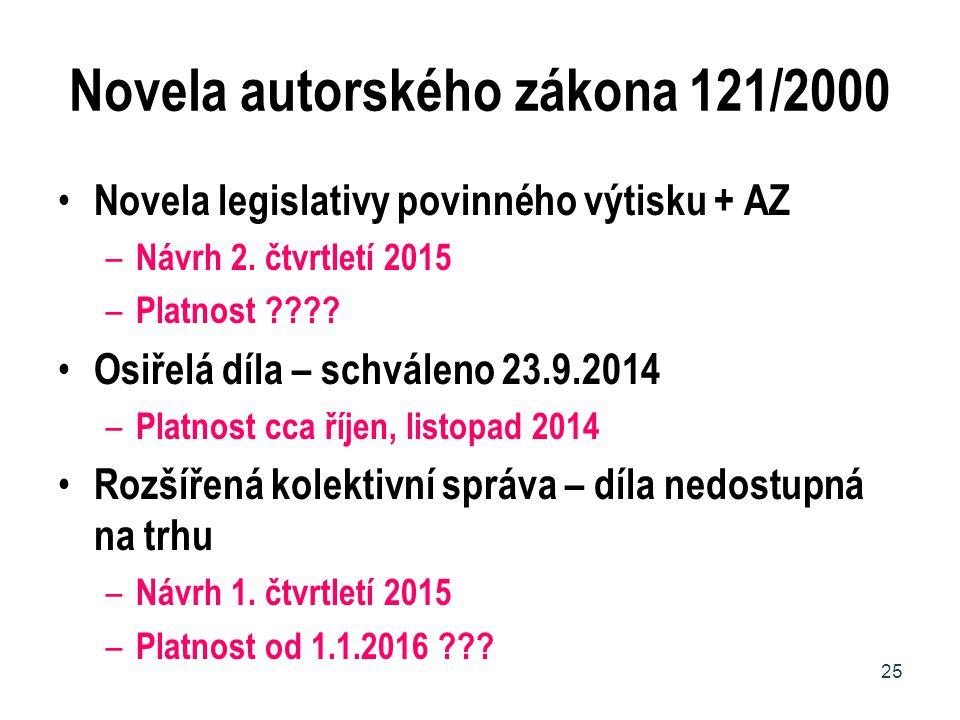 Novela autorského zákona 121/2000 Novela legislativy povinného výtisku + AZ – Návrh 2. čtvrtletí 2015 – Platnost ???? Osiřelá díla – schváleno 23.9.20