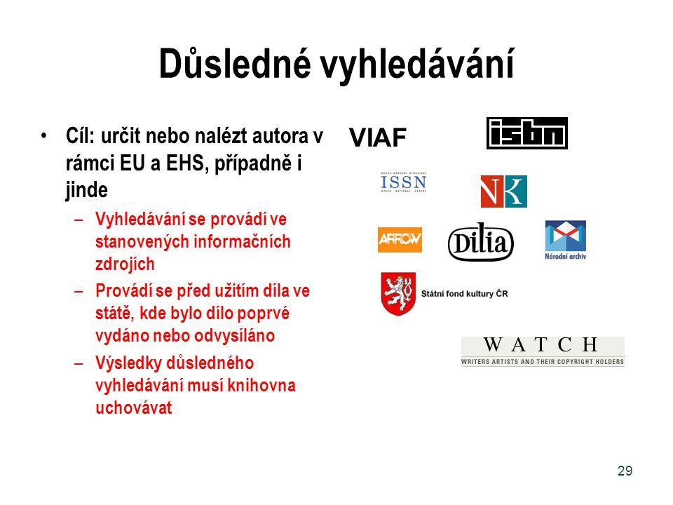 Důsledné vyhledávání Cíl: určit nebo nalézt autora v rámci EU a EHS, případně i jinde – Vyhledávání se provádí ve stanovených informačních zdrojích –