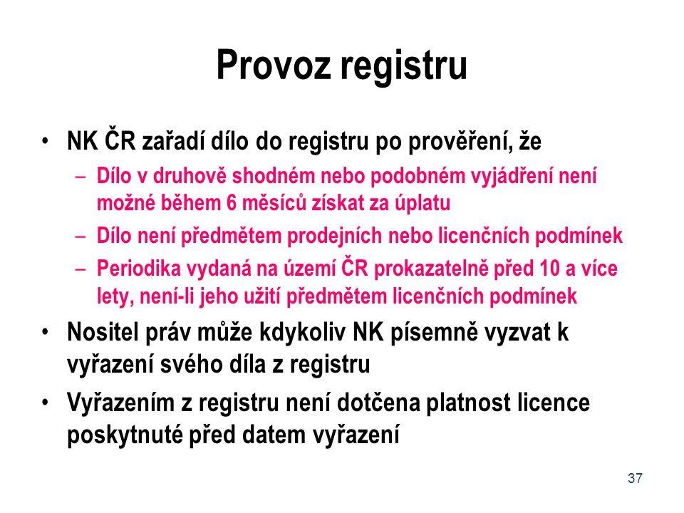 Provoz registru NK ČR zařadí dílo do registru po prověření, že – Dílo v druhově shodném nebo podobném vyjádření není možné během 6 měsíců získat za úp