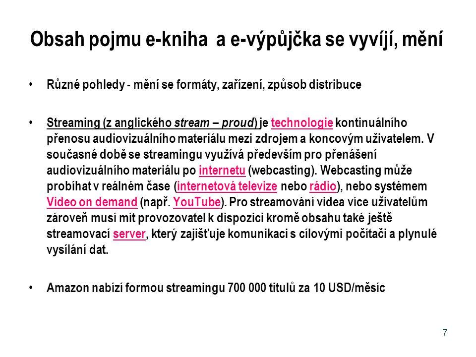 Obsah pojmu e-kniha a e-výpůjčka se vyvíjí, mění Různé pohledy - mění se formáty, zařízení, způsob distribuce Streaming (z anglického stream – proud )