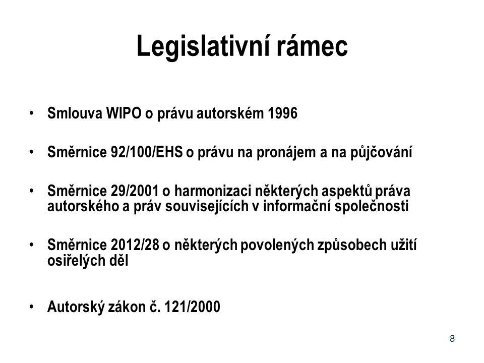 Legislativní rámec Smlouva WIPO o právu autorském 1996 Směrnice 92/100/EHS o právu na pronájem a na půjčování Směrnice 29/2001 o harmonizaci některých