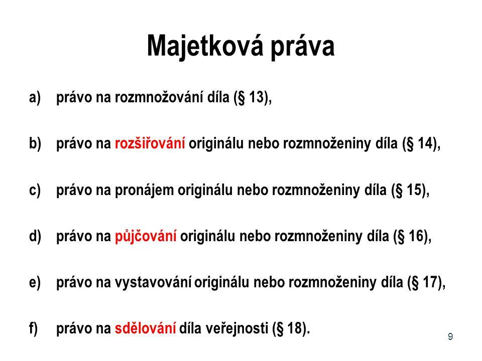 Majetková práva a)právo na rozmnožování díla (§ 13), b)právo na rozšiřování originálu nebo rozmnoženiny díla (§ 14), c)právo na pronájem originálu neb